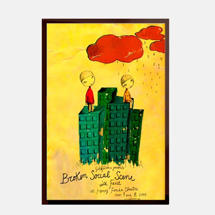 Cartel Broken Social Scene - Enmarcado en vidrio con marco de madera negro  http://followtheforest.com/ilustraciones/101-cartel-broken-social-scene.html