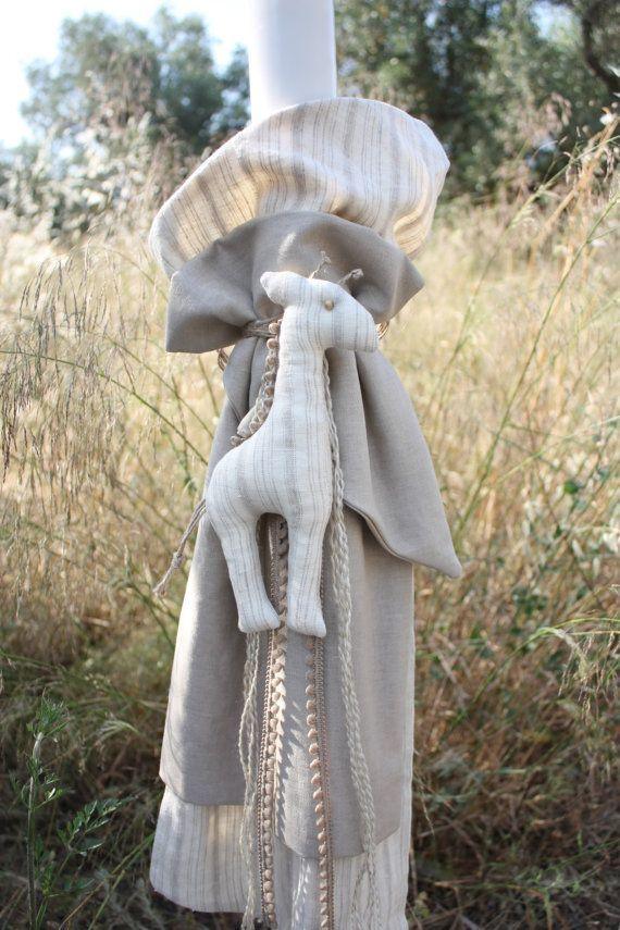 Συλλογή Βάπτισης Ζαχαρένια Καμηλοπάρδαλη #Λαμπάδα  #Baptism #Christening Candle #Lambada #Baptism Lambatha #Greek Orthodox Baptism/Christening #Linen Candle #Linen Fabric Giraffe #Cute Giraffe Baptism Set