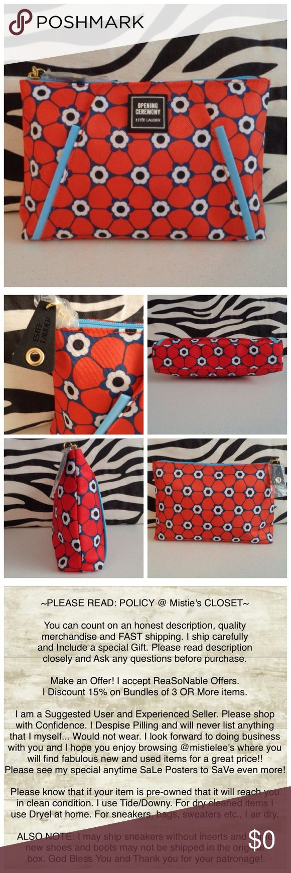 """FREE W/$35 Cosmetic Purchase NWOT Made by: Estée Lauder Flower Power Cosmetic Bag. Red, Navy, Baby Blue, Black and White Zipper Closure. Measurements: 5.5""""TallX 8""""WideX 2""""Thick. NWOT. Please see my other items. Thank you for browsing my closet. Estee Lauder Bags Cosmetic Bags & Cases"""