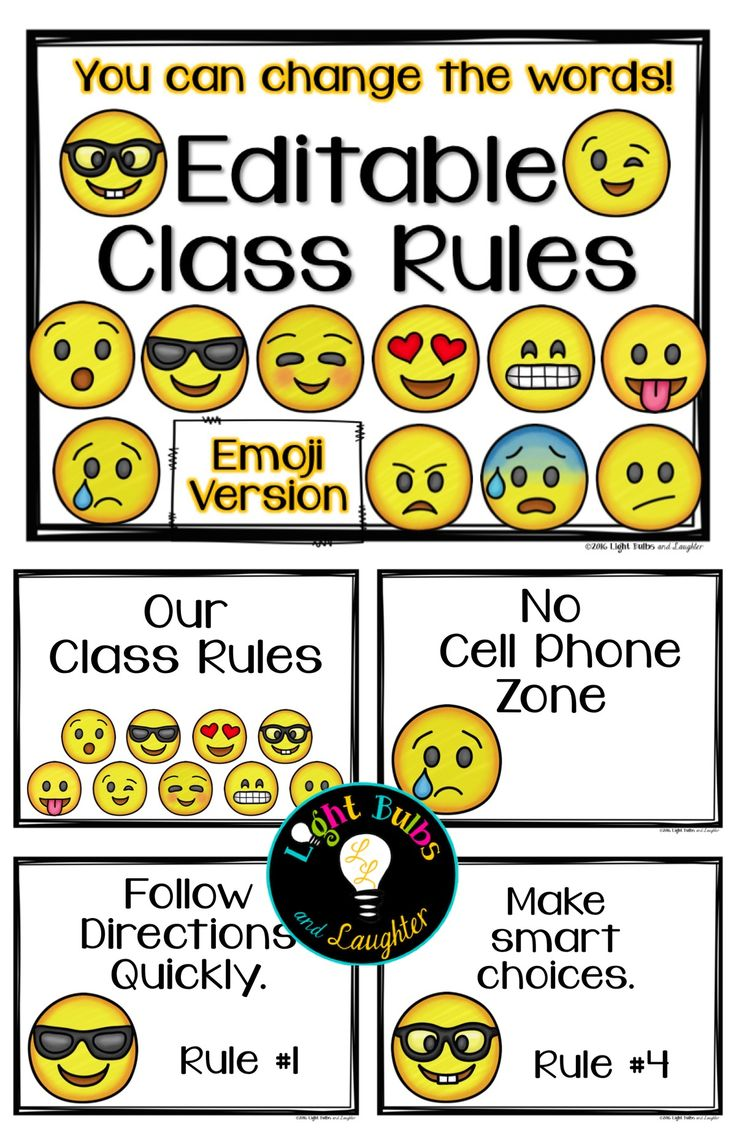 Class Rules or Posters, Emoji Style. You can change the words! TpT$ From Light Bulbs and Laughter.