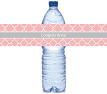 Gray And Pink Modern Water Bottle Labels-Gray And Pink Modern Water Bottle Labels, baby shower water bottle labels, birthday party, bridal shower