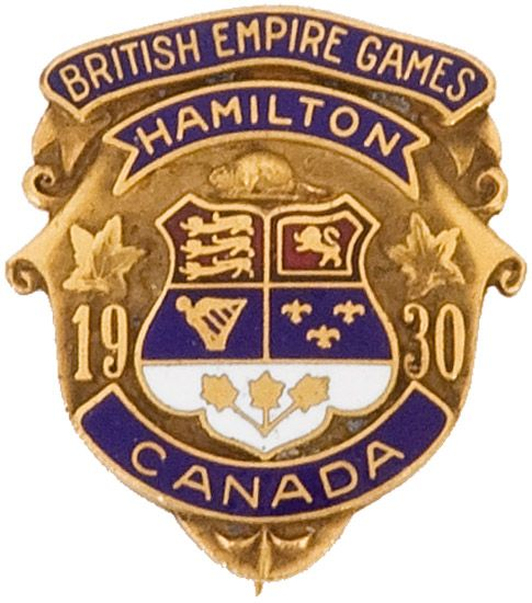 Official pin from the 1930 British Empire Games in Hamilton, Canada