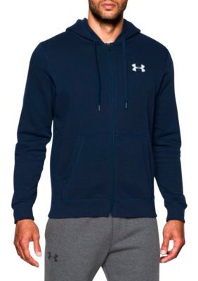 Under Armour Men's Rival Fitted Fleece Fitted Full Zip Hoodie - Blue - Xl