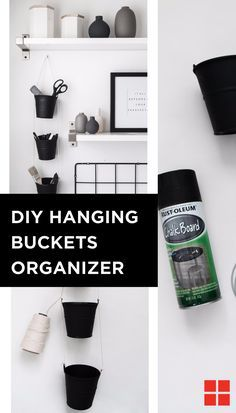 Everything in its place can be just as chic as it is sweet with these DIY hanging bucket organizers, crafted by @thebeautydojo. Like stuff, organization is something that you can never have too much of and this decorative organizer is perfect for tidying up all of that stuff in a stylish way. Grab a can of Rust-Oleum Chalkboard Spray, some twine and a few tin buckets to get started! http://spr.ly/64998bZgR
