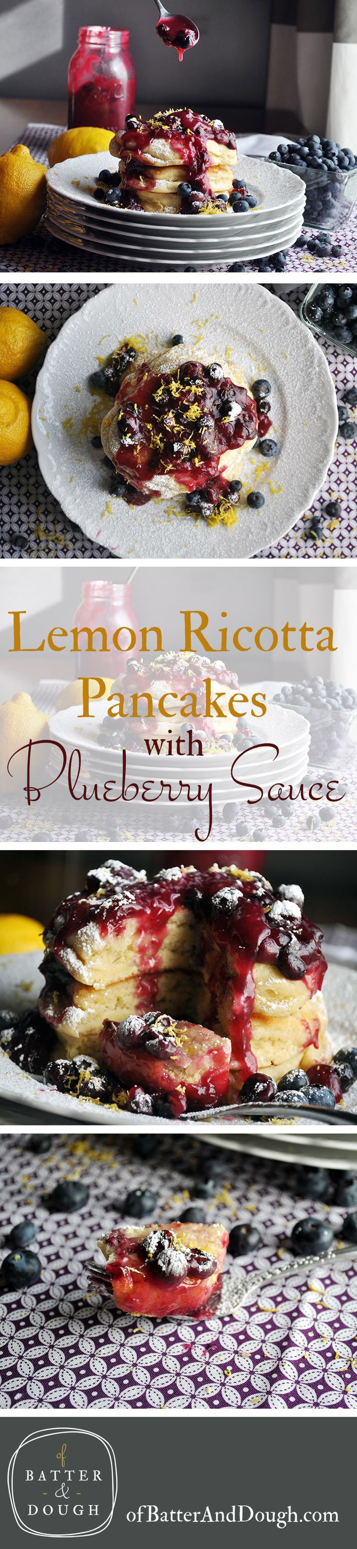 These Lemon Ricotta Pancakes bake up into delightfully tall, fluffy pancakes that are absurdly moist and creamy, tangy and sweet, delicious all on their own, but positively decadent when smothered in homemade blueberry sauce.