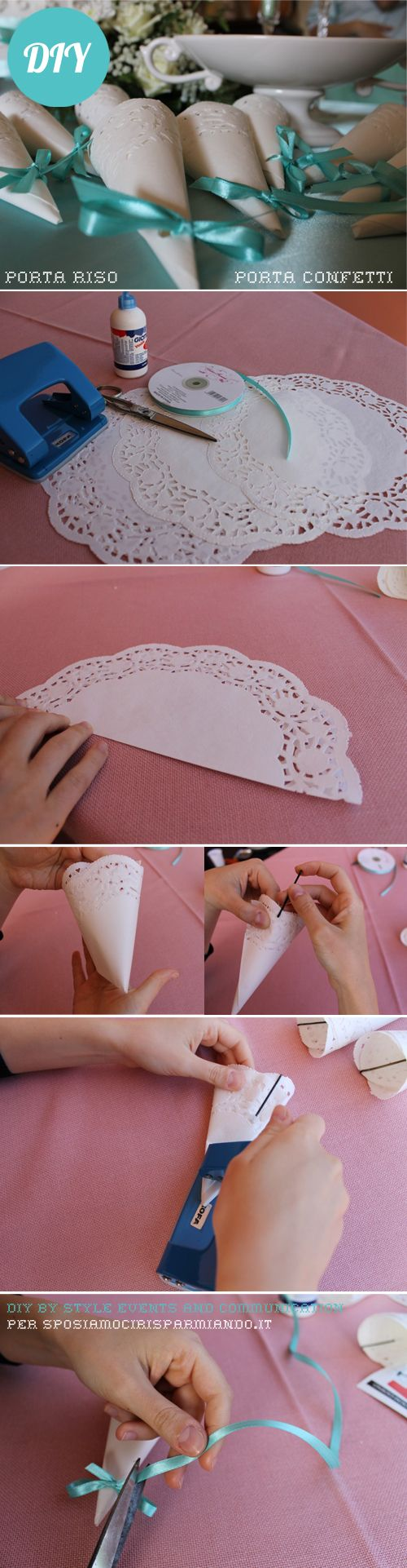 Eleganti coni portariso fai da te, che all'occorrenza si possono utilizzare anche come portaconfetti. Un facile e veloce DIY :-)