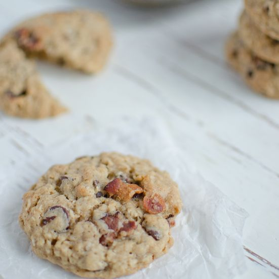 Bacon, Chocolate Chip Oatmeal Cookies  Bacon adds a smoky flavor and a little crunch to these chocolate chip-oatmeal cookies.
