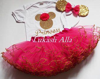 Caliente traje de cumpleaños de Minnie Mouse de color rosa Minnie Mouse cumpleaños Tutu-Tutu de Minnie primer cumpleaños Minnie Mouse traje rosa y oro cumpleaños
