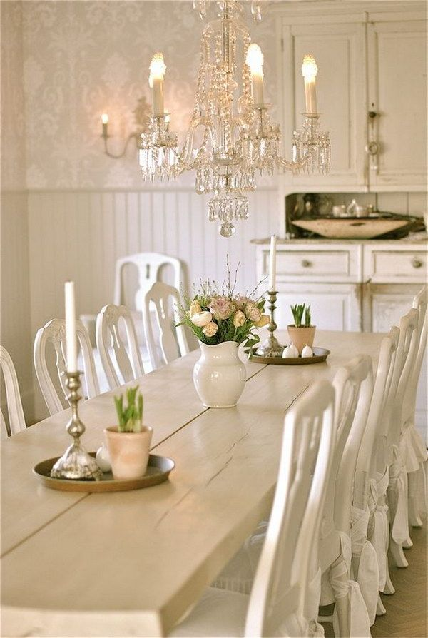 Shabby Chic Dining Room With White Chairs, Chandelier And Awesome Hutch.