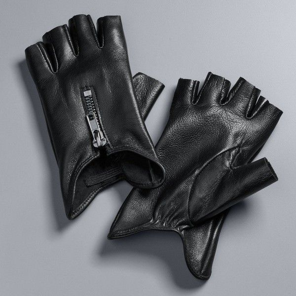 Women's Simply Vera Vera Wang Leather Fingerless Gloves ($34) ❤ liked on Polyvore featuring accessories, gloves, black, zipper gloves, driving gloves, simply vera, elastic gloves and fingerless leather gloves