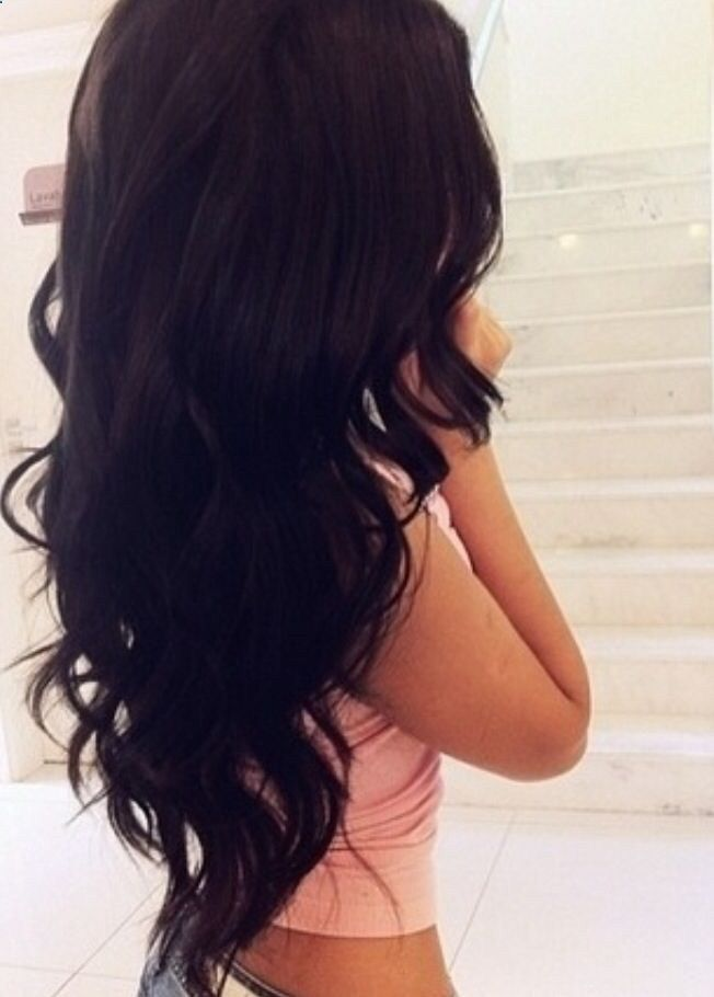 Gorgeous perfect loose curls on long dark hair #perfection Pin It