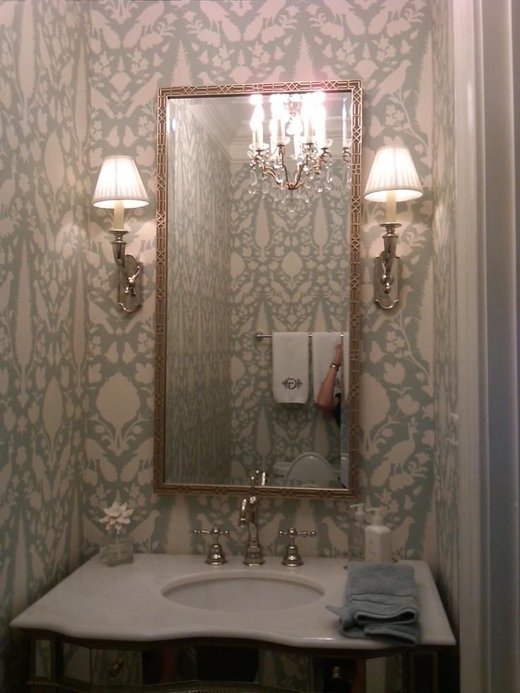 powder ceiling bathroom mirror bath fixture wall marble counter edge wallpapers rooms mirrors vanity pattern pretty bathrooms framing lights ikea