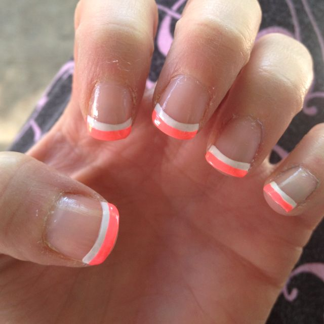 White and colored French manicure