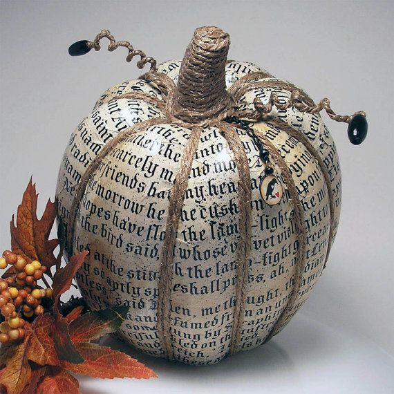 Decoupage Halloween text over faux pumpkin with modpodge, mark segments and stem with twine, add black sequin or button to end of tendril #decoupage, #crafts, #DIY, https://apps.facebook.com/yangutu
