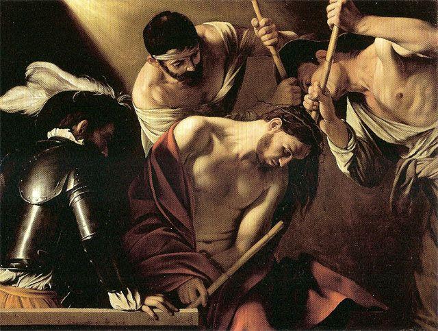 "Caravaggio (1571-1610), ""Incoronazione di spine"", 1603 olio su tela 127x165 cm Vienna, Kunsthistorisches Museum"