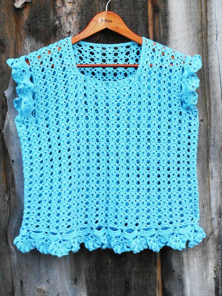 Купить Ажурный голубой топ Кокетка - голубой, однотонный, топ, купить, Вязание крючком