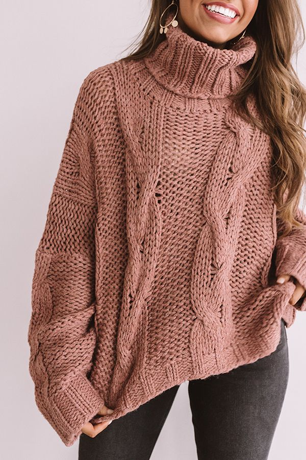 Cute With Cocoa Cable Knit Sweater In Blush Fall Knit Sweater Oversized Sweater Women Cable Knit Sweater Outfit