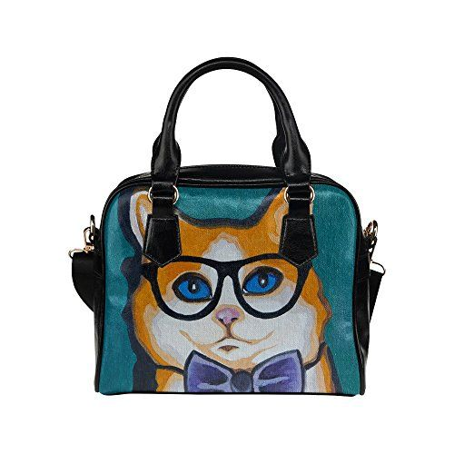 e3eea5ecea2e InterestPrint Mr Cat Hipster PU Leather Shoulder Handbag Bag for ...