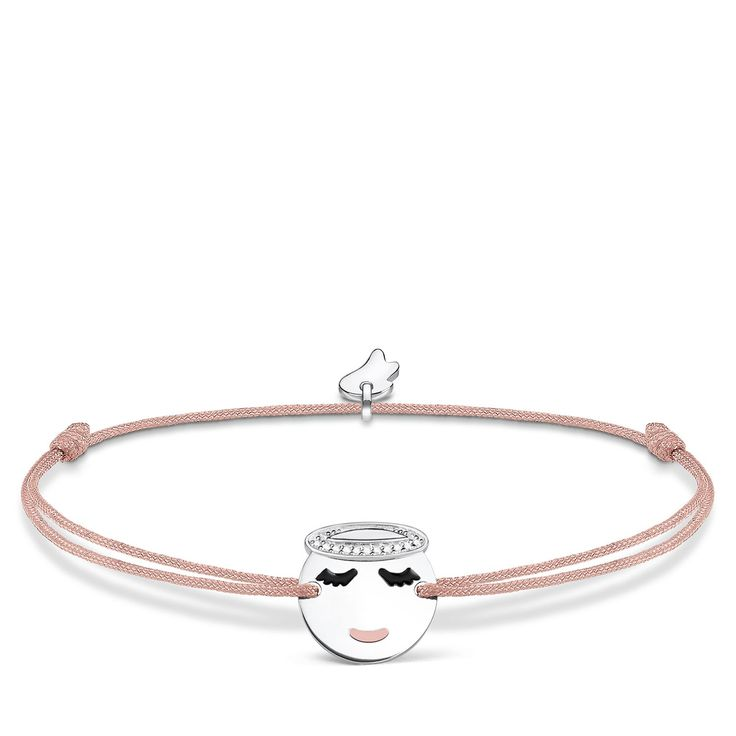 bracelet - lengthwise adjustable - adjustable sliding clasp - 925 Sterling silver - zirconia white - pink, black enamelled - Simple Chic - #littlesecretsbyTS - Individual, size-adjustable wish bracelets Brings a smile to your face! The fine, hand-knotted colourful textile bracelet – ideal for versatile, combinable styles – surprises with a coin pendant in the form of a sparkling guardian angel emoticon.