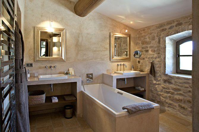 stone bathroom in Bastide Vallat, Luberon, Provence, France