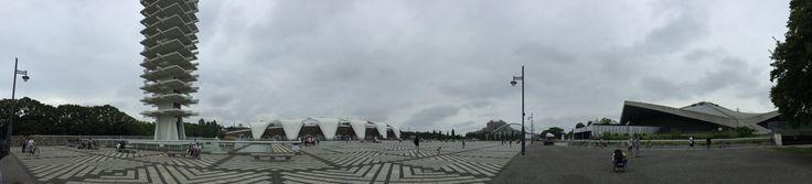 Komazawa Olympic Park: from left: Tower, Stadium, gym (under construction) archery stadium. 1962 Tower & Gym Ishihara Yoshinobu 葦原義信