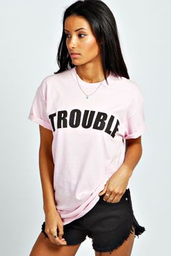 Hallie Trouble Slogan Tee at boohoo.com