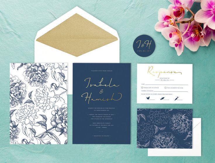 Marine und goldene Hochzeitseinladung von LittleBridgeDesign