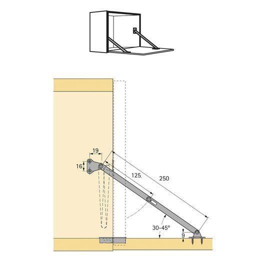 lot de 2 compas d 39 abattant pour porte de meuble hettich mm table escamotable pinterest. Black Bedroom Furniture Sets. Home Design Ideas