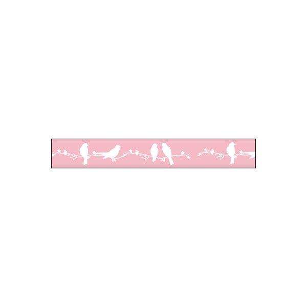 Wow! Nastro Uccellini su sfondo rosa