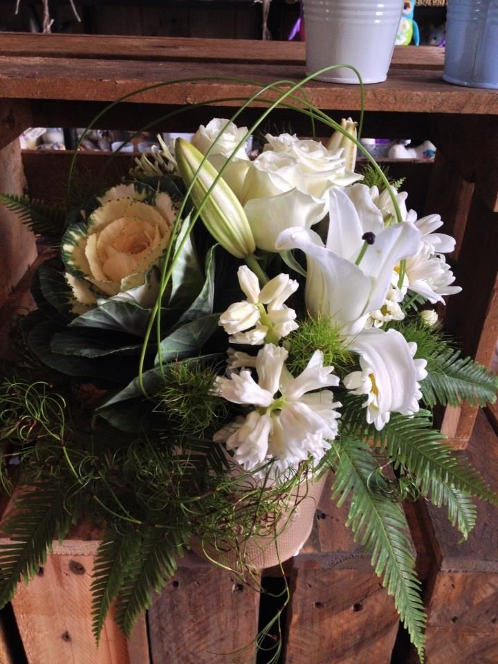 Modern floral pot with lilies, kale, hyacinth and roses made by Twigs Florist at Varsity Lakes