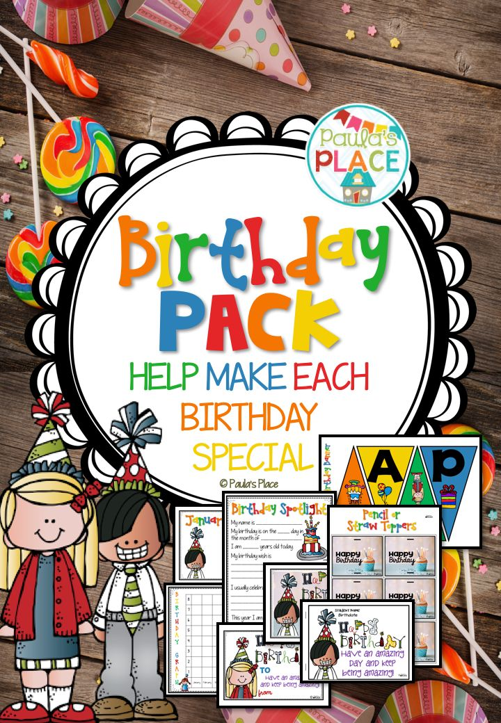 Birthdays are a big thing for each student when their birthday day is finally here! This pack is about setting up a display for the year that will highlight each child on their day. 55 pages for $5! http://designedbyteachers.com.au/marketplace/birthday-pack/