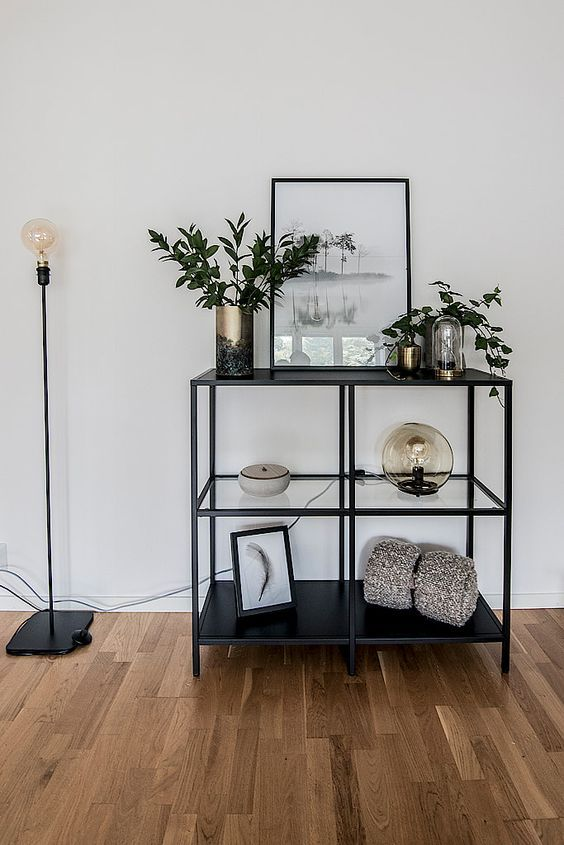 A black bookcase as decoration in livingroom