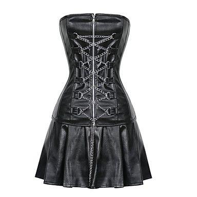 sexy lingerie shaper corsets shapewear corrente de metal nylon / couro sintético preto – BRL R$ 137,12
