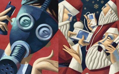 Illustration - David de Ramón - The Mushroom Company - santa claus, phone