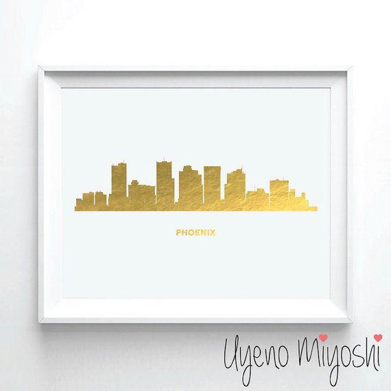Phoenix Skyline Gold Foil Print, Gold Print, Map Custom Print in Gold, Illustration Art Print, Phoenix Arizona Skyline Gold Foil Art Print