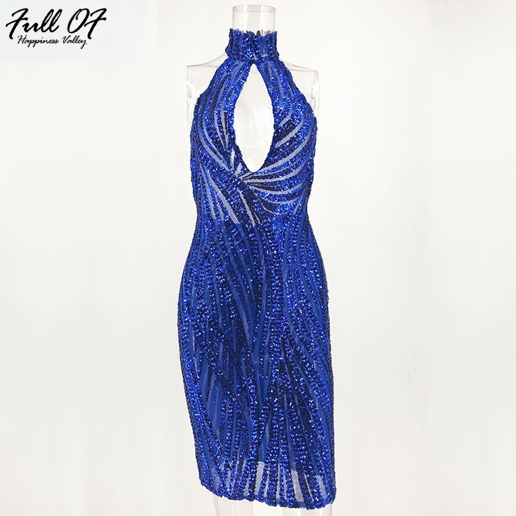 Women Sexy Halter Summer Sequin Dresses 2017 New Arrival Elegant Knee Length Sequined Party Backless Blue Dress  -in Dresses from Women's Clothing & Accessories on Aliexpress.com | Alibaba Group