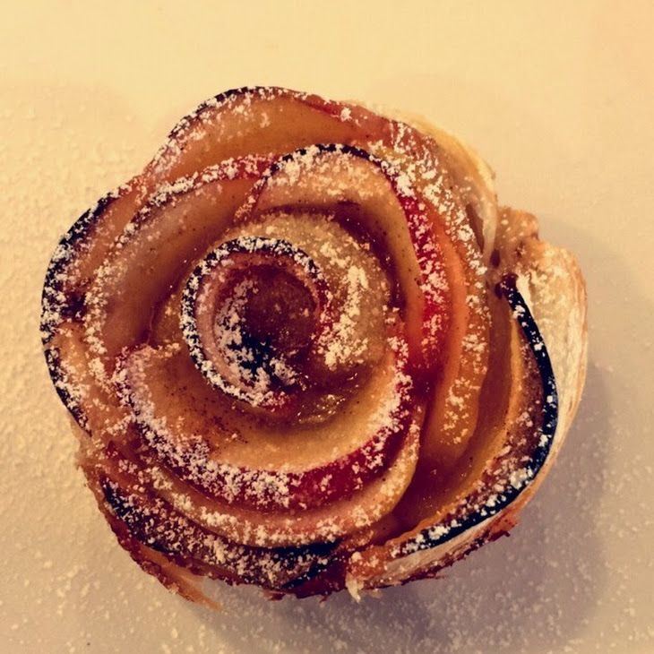 Cinnamon Apple Roses Recipe Desserts with puff pastry, red apples, lemon juice, flour, apricots, cinnamon, powdered sugar