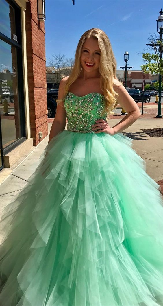 9ad85a4fb6 Pretty Green Strapless Tulle Ball Gown Prom Dress with Beading