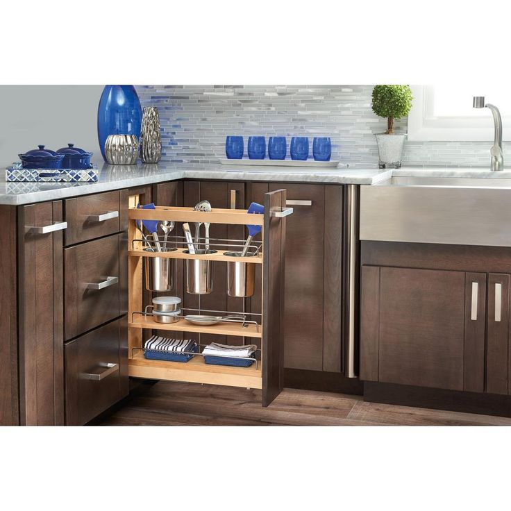 null 5 in. Pull-Out Wood Base Cabinet Utensil Organizer with 3 Bins and Soft-Close Slides