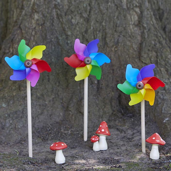Mini, perfect for outdoor Fairy Garden......fairies love them too! #whirlywindmills #rainbow #mushrooms #fairy #garden #magic