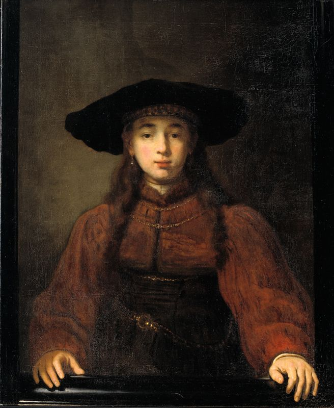 Rembrandt Exhibition Shell : A young woman resting her hands on the picture frame