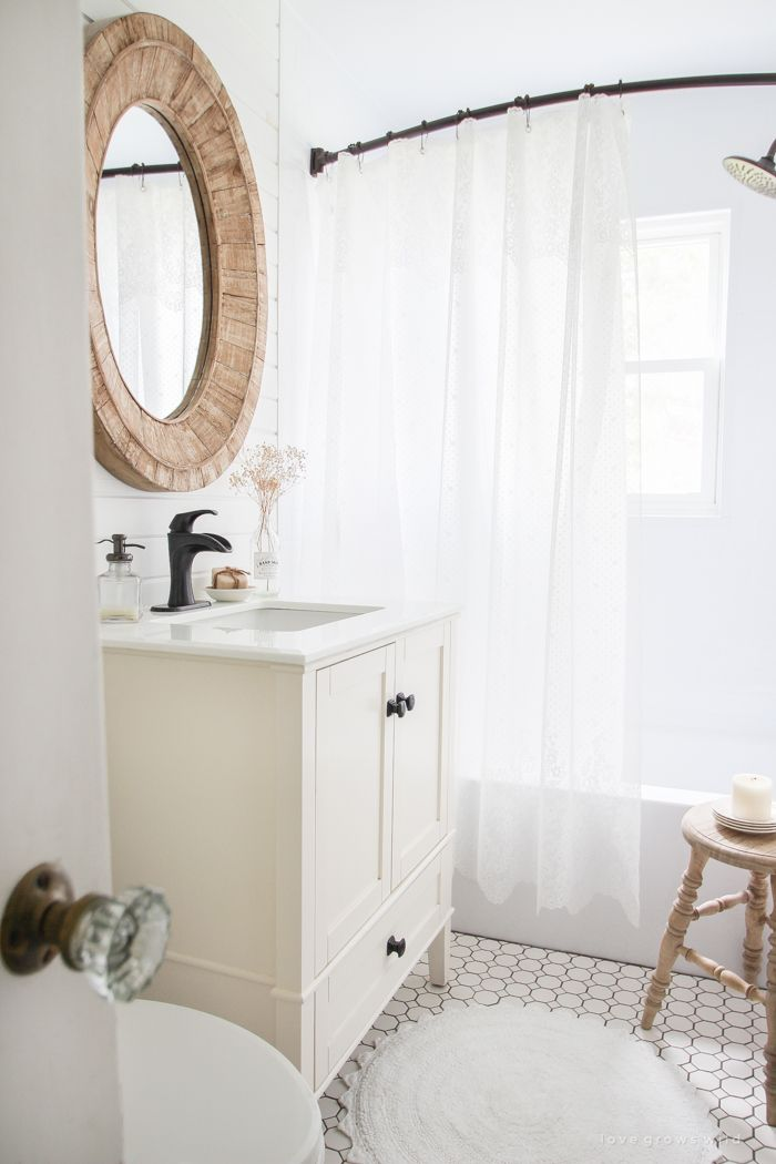Softening the Farmhouse Farmhouse BathroomsSmall 42