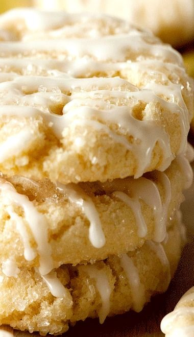 Sugared-Lemon Crinkle Cookies with Sweet Lemon Glaze