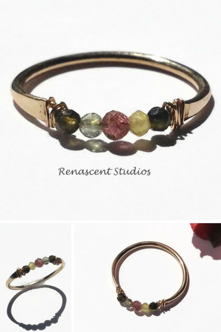 Faceted watermelon tourmaline ring. This ring has a minimalist look when worn alone and adds a band of color when stacked with other rings.