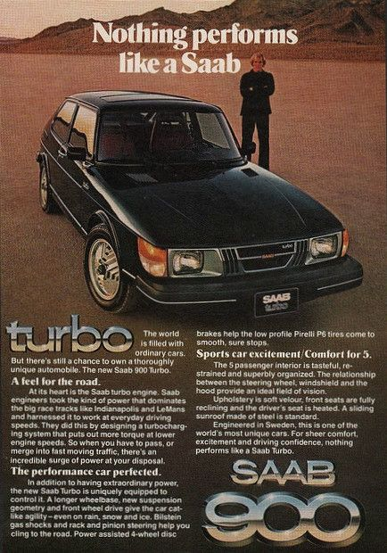 "An original 1979 advertisement for the Saab 900 Turbo. A full size photo ad of this classic car. Out on the dirt road, performance. ""Nothing performs like a Saab"" -1979 Saab advertisement print -Measu"