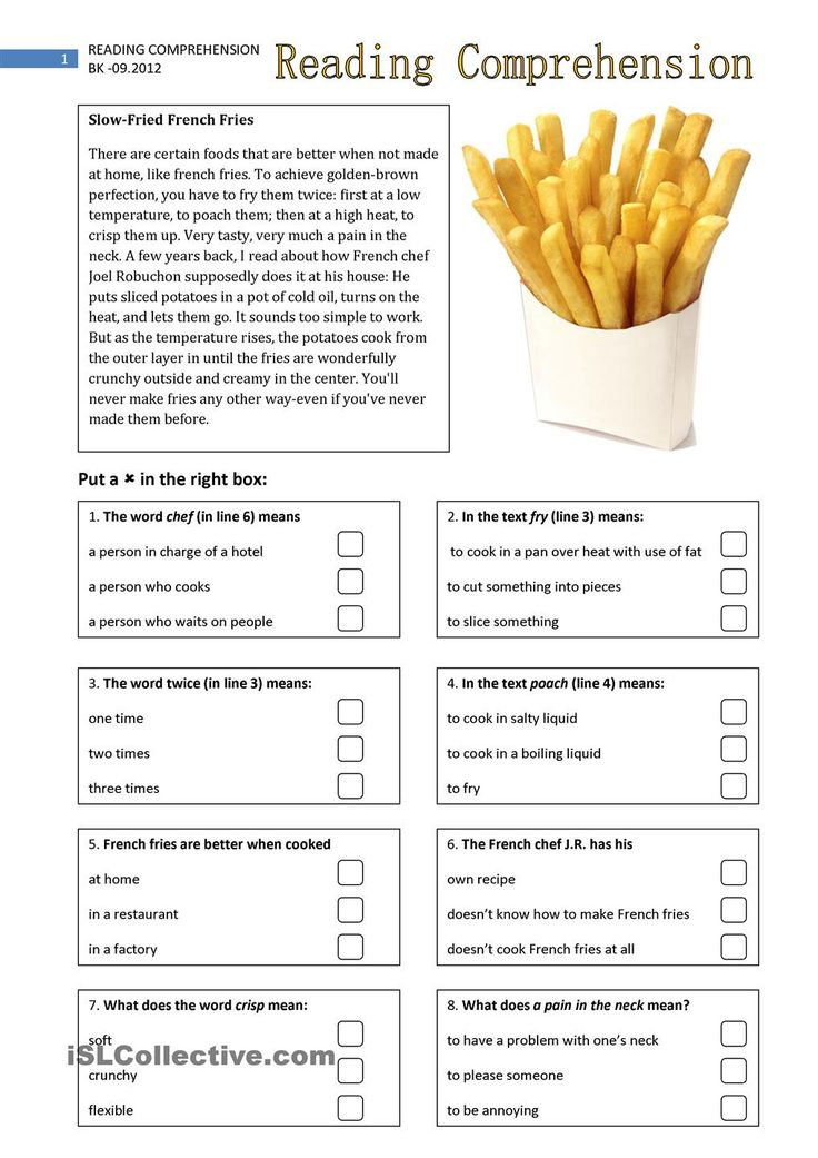 Esl reading comprehension worksheets