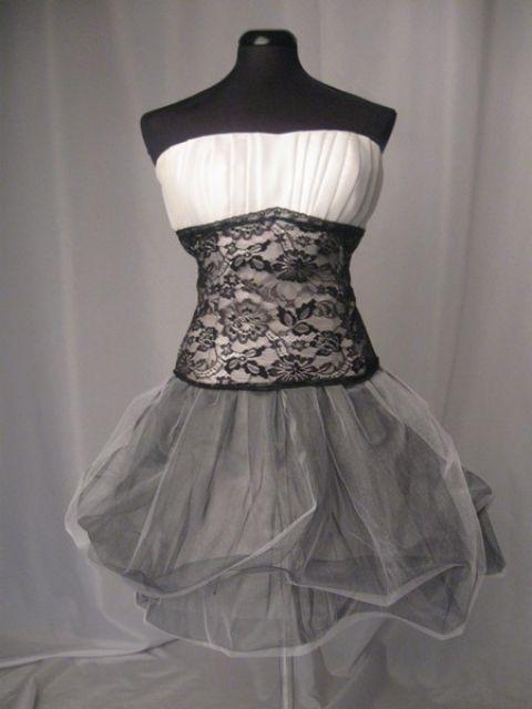 Fekete-fehér tüll és csipke koktélruha, turquoisebijou, meska.hu #tulle #lace #occasional #dress