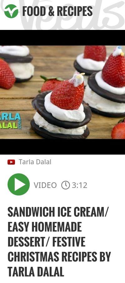 Sandwich Ice Cream/ Easy homemade dessert/ Festive christmas recipes by Tarla Dalal | http://veeds.com/i/1fzS4zZc48xpzYVe/jummy/