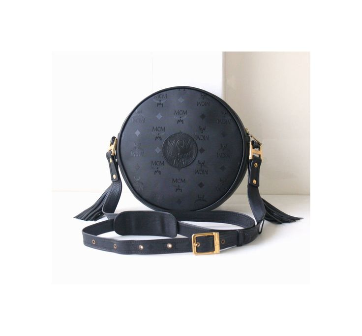 MCM bag Visetos Black Tambourine shoulder cross-body handbag vintage brown Authentic purse rare by hfvin on Etsy  #mcm #bag #visetos #black #tambourine #hfvin