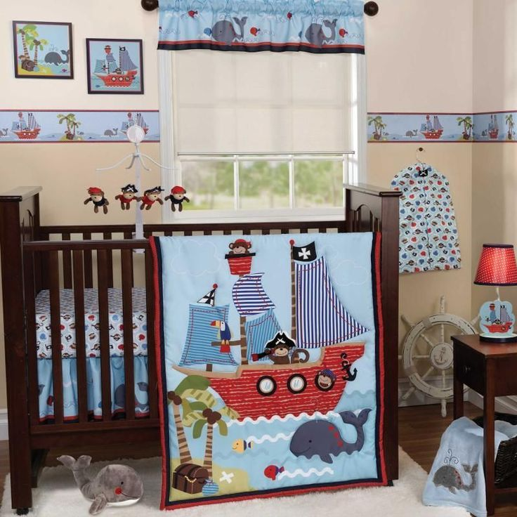 Nautical Themed Bedding For Babies: Blue Nautical Pirate Themed Baby Boy Sea Life Monkey 3p